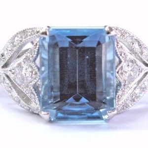 "Tiffany & Co Platinum Aquamarine & Diamond ""Legacy"